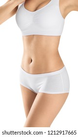 Perfect slim female body isolated on white background. Healthy body concept.