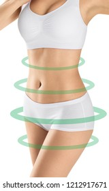 Perfect slim female body isolated on white background. Stomach health, diet, weight loss concept. Isolated on white.