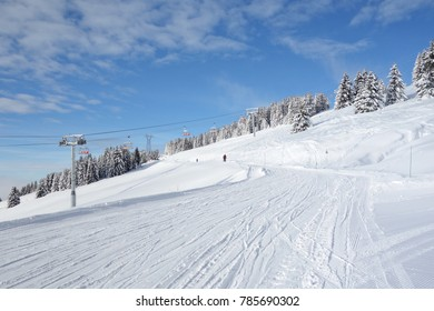Perfect snow on the ski slopes near the ski resort of Avoriaz in the French Alps.