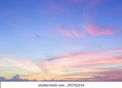 Perfect soft cloudy sunset sky in summer background view concept for pressure sunrise on the beach Puffy Cloud move by windy concept Felling good-tempered relaxing vacation travel in tropical.