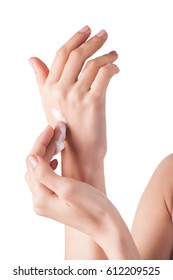 Perfect soft hands on isolated background with the drop of moisturizing cream on. young girl wearing hand cream