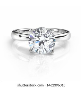 Perfect Solitaire Diamond Engagement Ring Isolated on White Background.