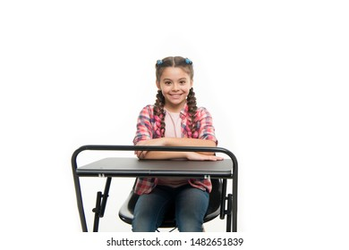 Perfect student girl sit desk. She knows all right answers. Knowledge is richness. Back to school. Private school concept. Individual schooling. Elementary school education. Enjoy process of studying.