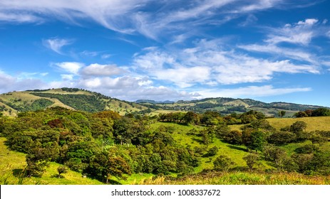 Perfect sunny day over the Monteverde hills and coffee plantations. Costa rica
