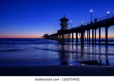 Perfect sunset at Huntington beach, California, U.S.A.
