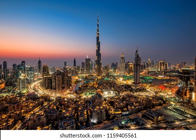 Perfect sunset view of downtown Dubai.