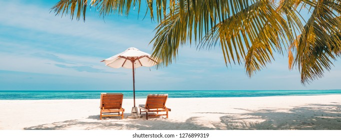 Perfect tropical island, beach resort and hotel background, two sun loungers and umbrella under palm trees near the sea. Summer vacation and beach holiday concept. Tourism landscape if Maldives island