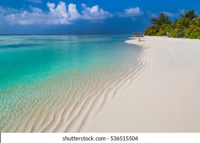 Perfect tropical island. Beautiful palm trees and tropical beach. Luxury travel summer holiday background concept.