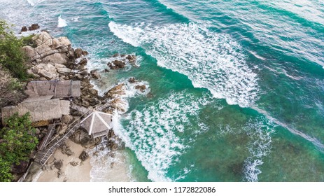 Perfect turquoise sea beach bird's eye view from drone quadcopter