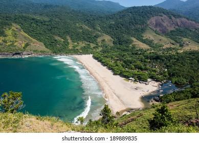 Perfect view of blue bay at Ilhabela island Rio do Janeiro, Sao Paulo. South America.