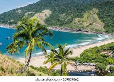Perfect view of blue bay at Ilhabela island Rio do Janeiro, Sao Paulo.Brazil. South America.