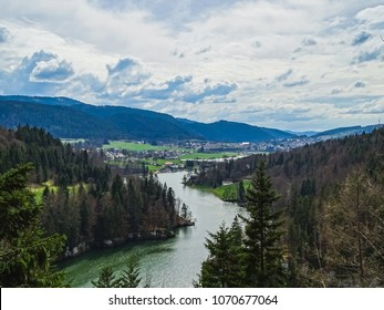 Perfect view to the river doubs near saut du doubs waterfall switzerland