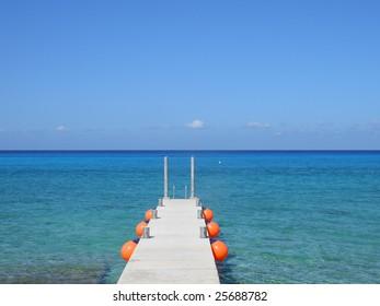 Perfect weather on Caribbean sea near a peer