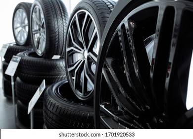 perfect wheels represented for a new business class car in dealership. modern stylish model of wheels. cars, automobile industry