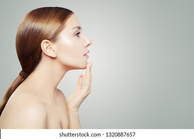 Perfect woman. Beautiful female profile on white background. Skincare and cosmetology concept.