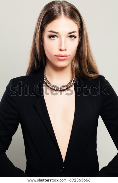 Perfect Woman in Black Suit. Beautiful Young Model