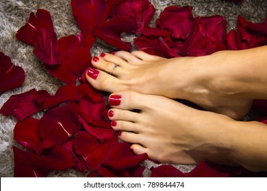 Perfect woman's feet with pedicure of red nail posilsh on toes and soft skin pampered by red roses petals