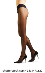 Perfect woman's legs in pantyhose isolated on white