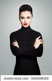 Perfect Young Model Woman wearing Black Roll Neck Dress, Fashion Studio Female Portrait
