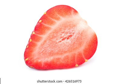 Perfectly cleaned sliced strawberry isolated on the white background with clipping path. One of the best isolated strawberry slice you have seen.