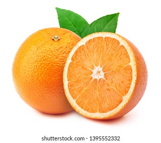 Perfectly retouched orange with half slice and leaves isolated on white background with clipping path. One of the best isolated oranges halves slices that you have seen.