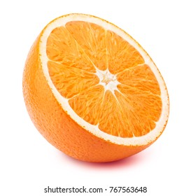 Perfectly retouched sliced orange isolated on the white background with clipping path. One of the best isolated orange slices that you have seen.
