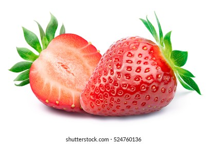 Perfectly retouched strawberry with sliced half and leaves isolated on white background with clipping path. One of the best isolated strawberries you have seen.