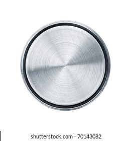 Perfectly round metal object isolated on white background
