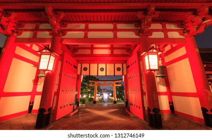Perfectly Torii gate ovelay at Fushimi Inari Shrine, Kyoto, Japan. Torii gate is the Japanese gate which can be commonly found at the front entrance of the Shinto shrine.