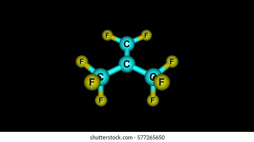 Perfluoroisobutene or PFIB is a fluorocarbon alkene. It is a hydrophobic reactive gas with boiling point at 7 degree. It is a strong electrophile. 3d illustration