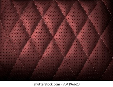 Perforated leather texture background for design, Dark red. illustration. Texture, color, artificial leather with stitching