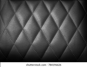 Perforated leather texture background for design, Dark black. illustration. Texture, color, artificial leather with stitching