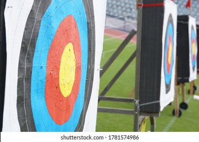 Perforated targets from an archery competition