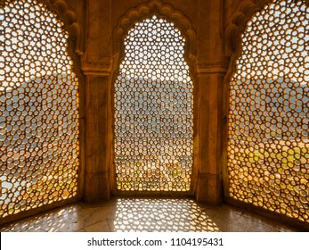 Perforated wall in the building of the palace in the Amber Fort, Jaipur, Rajasthan State.