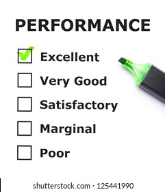 Performance evaluation form with green check mark on Excellent with felt tip pen.