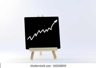 performance graph on isolated wooden stand