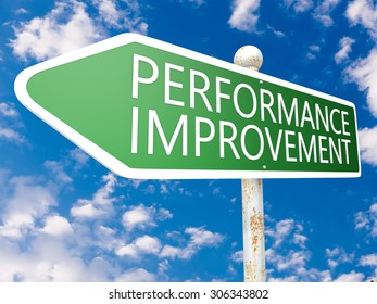 Performance Improvement - street sign illustration in front of blue sky with clouds.