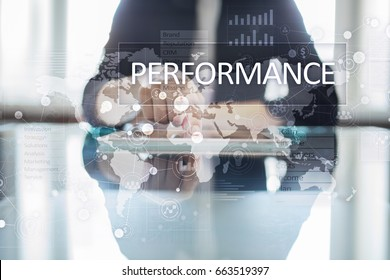 Performance indicator on virtual screen. KPI. Business growth strategy.