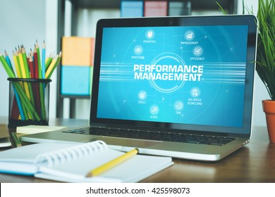 PERFORMANCE MANAGEMENT chart with keywords and icons on screen