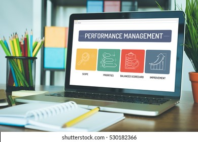 PERFORMANCE MANAGEMENT ICON CONCEPT ON LAPTOP SCREEN