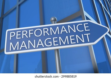Performance Management - illustration with street sign in front of office building.