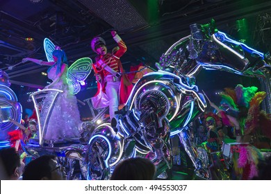 Performance and parade with actors, actresses and fantastic robots during a show at the robot restaurant. Shinjukunishiguchi district in Tokyo, Japan. Picture taken on May 17, 2016.