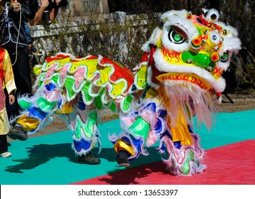 performance of a traditional chinese lion dance