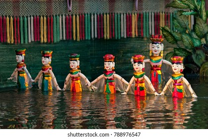 Performance of the water puppet at Hanoi, Vietnam.