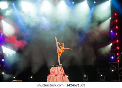 performances beautiful girls gymnasts in the circus