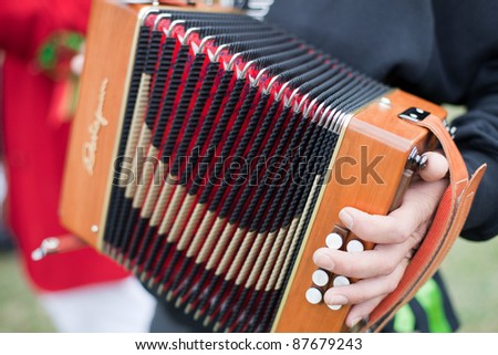 Performer Beautiful Old Button Accordion Stock Photo (Edit Now
