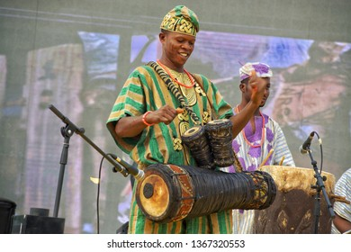 performer: display and playing during African drum festival in Nigeria, 22nd April 2018 Nigeria west Africa
