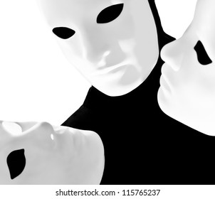 performer man mime with mask on studio isolated on white background