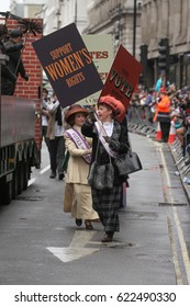 Performers from the City of Westminster float dressed as  'Suffragette' participating in London New Year's Day Parade in London on January 1, 2017.