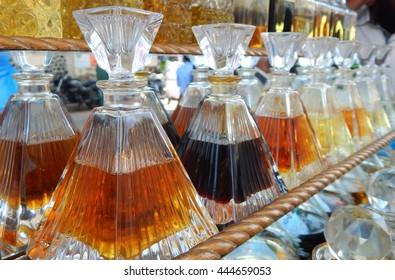 Perfume /Attar bottles in the street market,Hyderabad,India